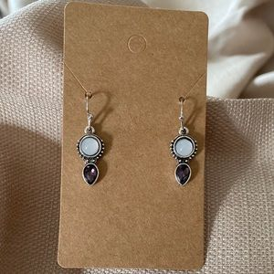 Teardrop dangle boho earrings duo, new but no tag.